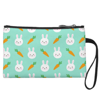 Cute easter bunny and carrots on aqua pattern wristlet