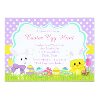 Cute Easter Bunny and Chick Easter Egg Hunt Card