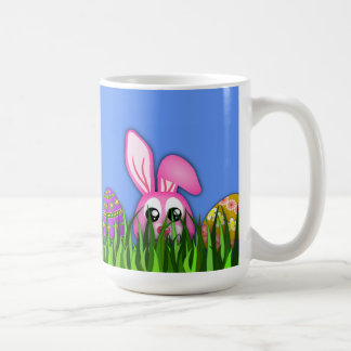 Cute Easter Bunny and Eggs in Grass Standard Mugs