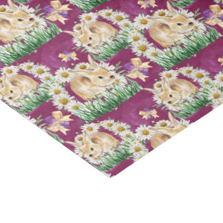 Cute Easter bunny and flowers party tissue Tissue Paper