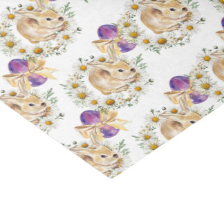 Cute Easter bunny and flowers pattern party tissue Tissue Paper