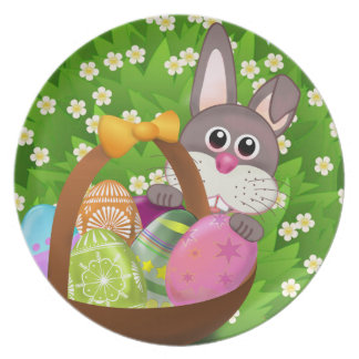 CUTE EASTER BUNNY AT GARDEN, KIDS EASTER PLATE