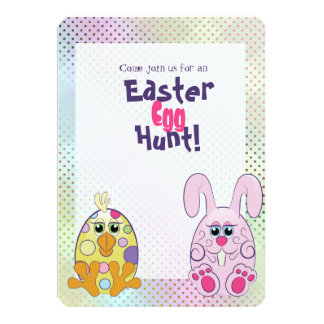 Cute Easter Bunny & chick egg hunt Card