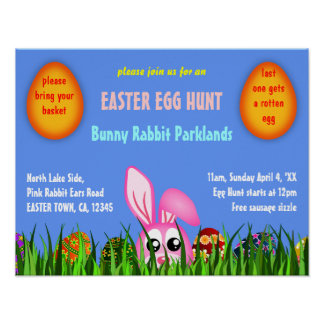 Cute Easter Bunny & Eggs in Grass Egg Hunt Poster
