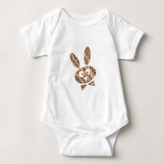 Cute Easter Bunny Gold Look Baby Bodysuit