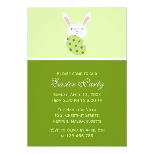 Cute Easter Bunny (Green) Card
