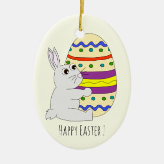 Cute easter bunny holding painted egg kids ceramic oval decoration