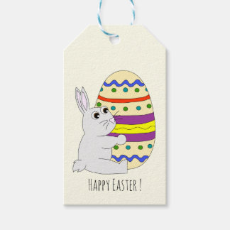 Cute easter bunny holding painted egg kids gift tags
