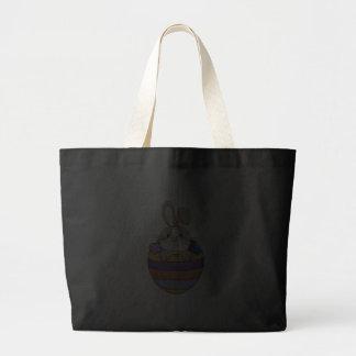 cute easter bunny in rainbow egg canvas bags