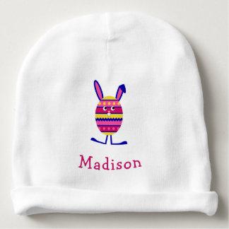 Cute easter bunny pink custom name baby beanie