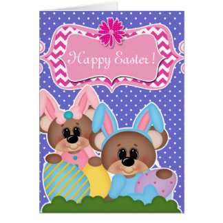 Cute Easter Bunny Polka Dots Card