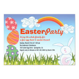 Cute Easter Bunny Rabbit Fun Egg Hunt Party Invite