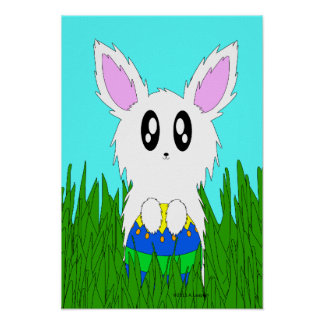 Cute Easter Bunny with Easter Egg Holiday Poster