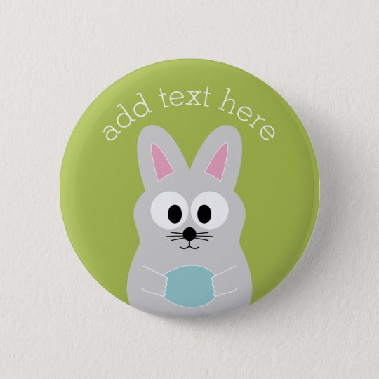 Cute Easter Bunny with Egg and Custom Name 6 Cm Round Badge