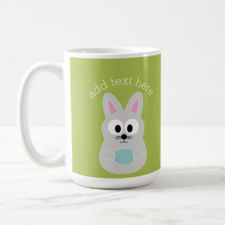 Cute Easter Bunny with Egg and Custom Name Coffee Mug
