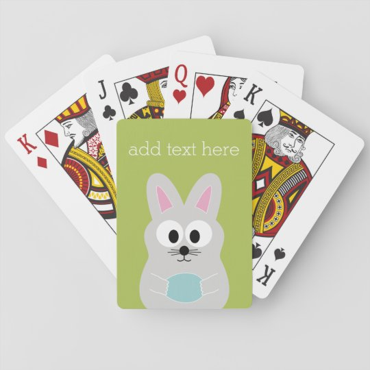 Cute Easter Bunny with Egg and Custom Name Playing Cards