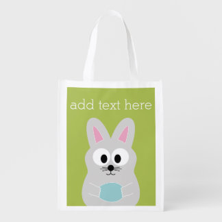 Cute Easter Bunny with Egg and Custom Name Reusable Grocery Bag