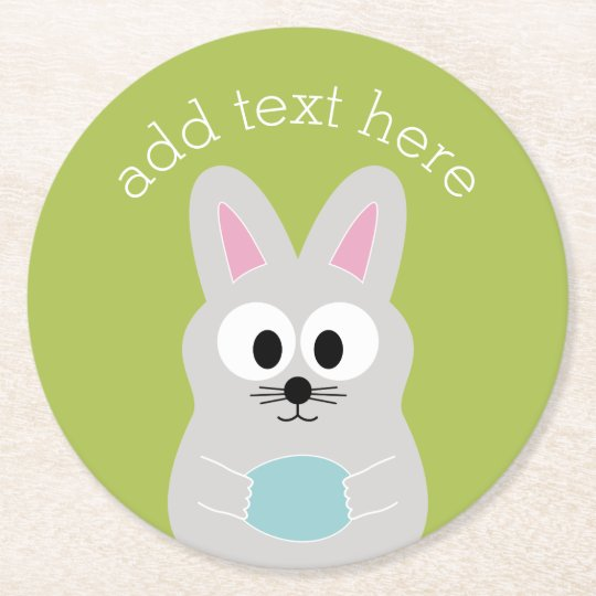 Cute Easter Bunny with Egg and Custom Name Round Paper Coaster