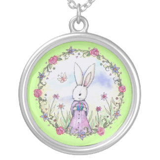 Cute Easter Bunny with Egg Whimsical Art Jewelry