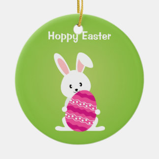 Cute Easter Bunny with Pink Easter Egg Round Ceramic Ornament