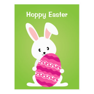 Cute Easter Bunny with Pink Easter Egg Postcard