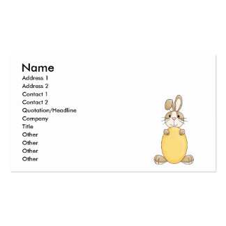 cute easter bunny with yellow egg business card template