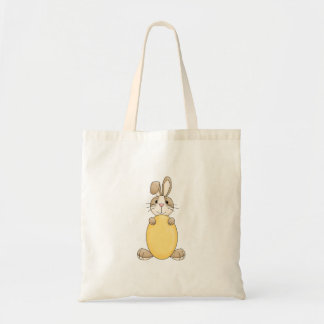 cute easter bunny with yellow egg budget tote bag