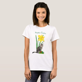 Cute Easter Cat and Daffodils White T-Shirt