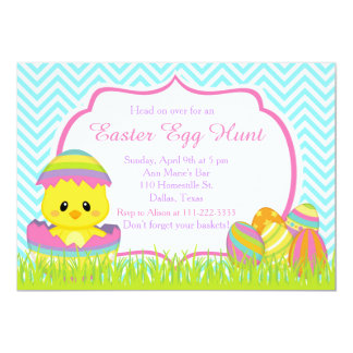 Cute Easter Chick Easter Egg Hunt Blue Chevrons 13 Cm X 18 Cm Invitation Card