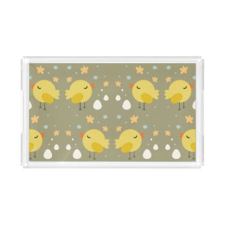 Cute easter chicks and little eggs pattern acrylic tray
