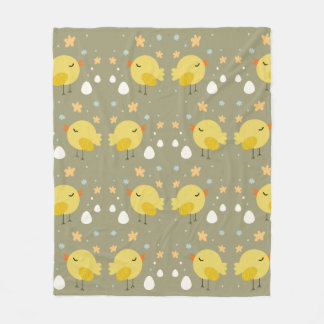 Cute easter chicks and little eggs pattern fleece blanket