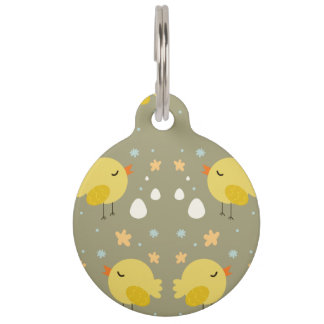 Cute easter chicks and little eggs pattern pet tag