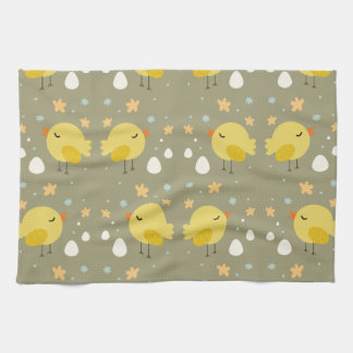 Cute easter chicks and little eggs pattern tea towel