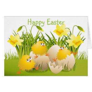 Cute Easter Chicks & Daffodils Card