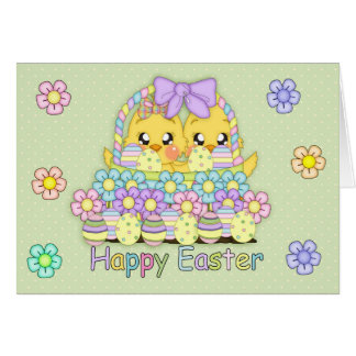 Cute Easter Chicks In A Basket With Decorated Eggs Greeting Card