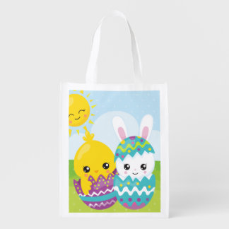 Cute easter duo reusable grocery bag