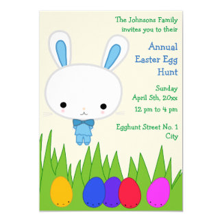 Cute Easter Egg Hunt Invitations With Blue Bunny