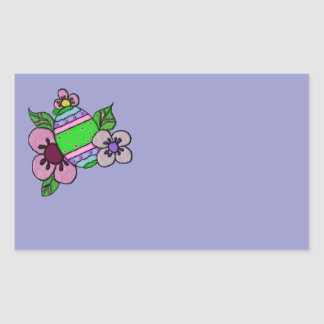 Cute Easter Eggs With Flowers Rectangular Sticker