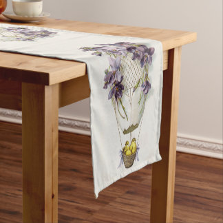 Cute Easter Hot Air Balloon of Lilies Table Runner