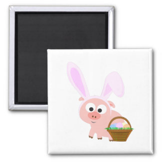 Cute Easter Pig Square Magnet