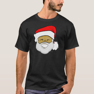 Cute Ebony Santa Smile Christmas T-Shirt