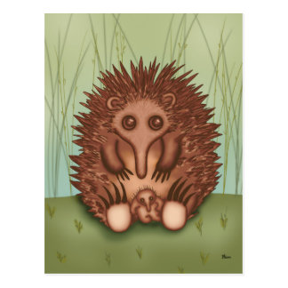 Cute Echidna with Baby Postcard