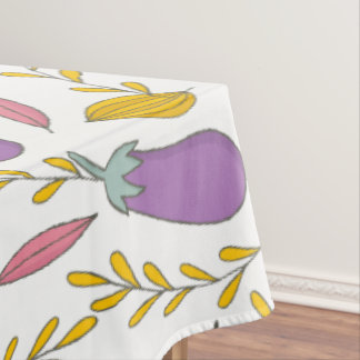 Cute Eggplant And Leafs Tablecloth