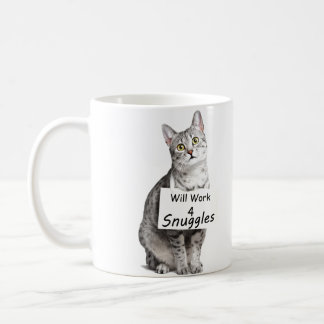Cute Egyptian Mau Cat Advertising for Snuggles Coffee Mug