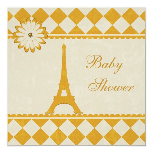 Cute Eiffel Tower Argyle Yellow Baby Shower Card