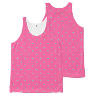 cute elegant baby pink mint polka dots pattern All-Over print tank top