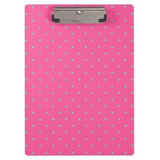 cute elegant baby pink mint polka dots pattern clipboard