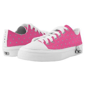 cute elegant baby pink mint polka dots pattern printed shoes