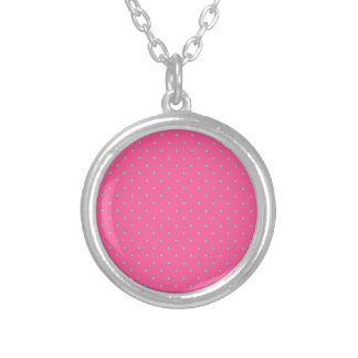 cute elegant baby pink mint polka dots pattern silver plated necklace