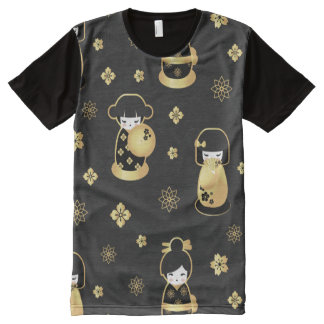 Cute elegant black gold Japanese dolls and flowers All-Over Print T-Shirt